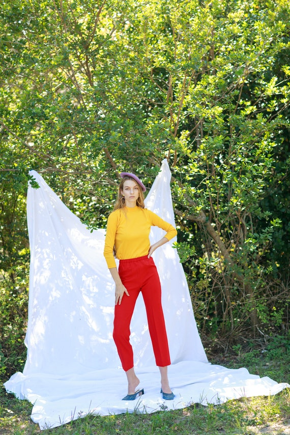 60s Apple Red High Waisted Trousers Vintage Knit … - image 5