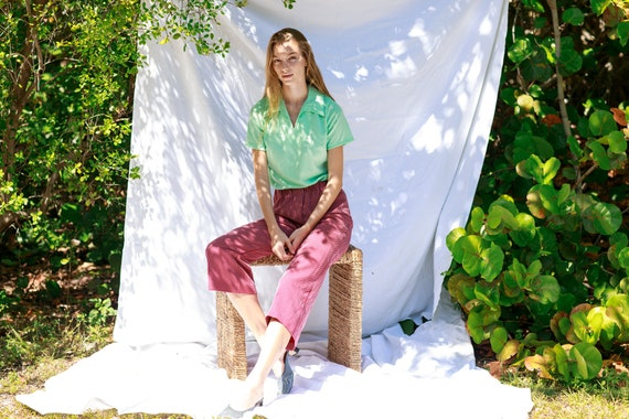70s Dark Red White Printed Pants Vintage Knit Pat… - image 6