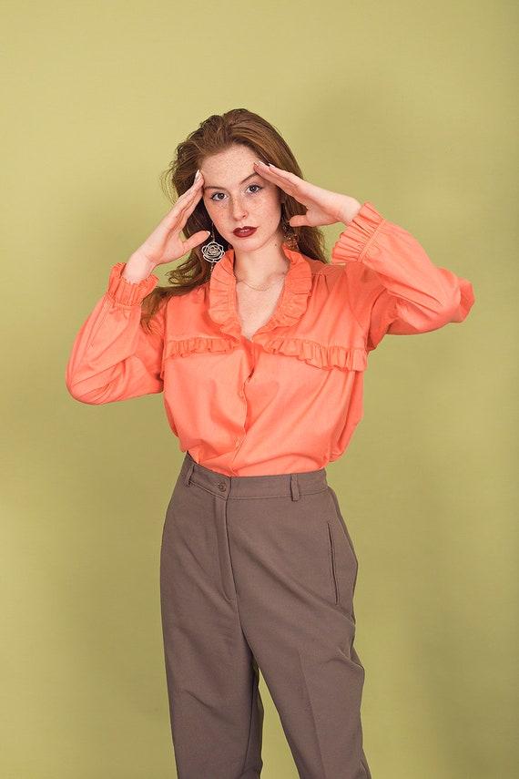 70s Peach Ruffle Collar Blouse Vintage Coral Cott… - image 5