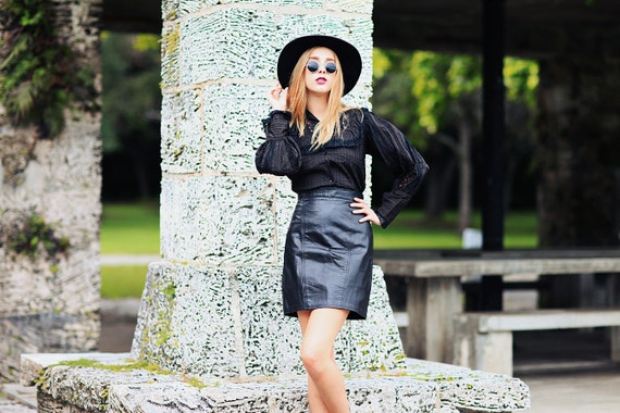 80s Leather Skirt Vintage Black High Waisted Fitte