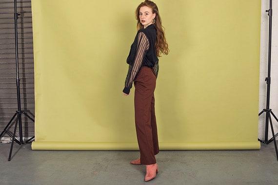 70s Dark Brown Knit Pants Vintage High Waisted Pa… - image 4