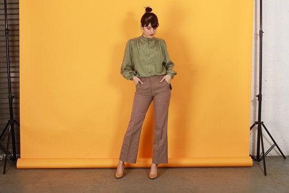 70s Khaki Flared Knit Pants Vintage Beige High Wa… - image 1