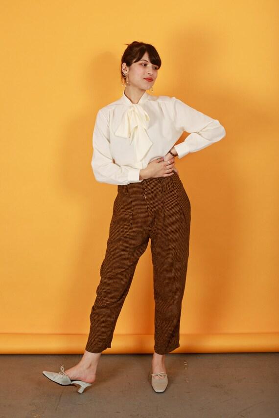 80s Brown Orange Plaid Pants Vintage Houndstooth … - image 2