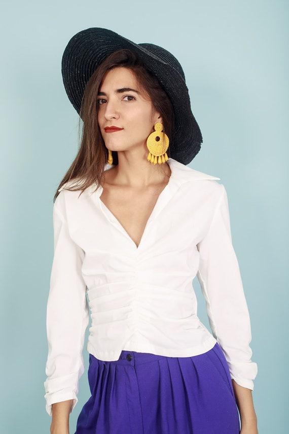 80s Off White Formal Collar Blouse Vintage Statem… - image 7