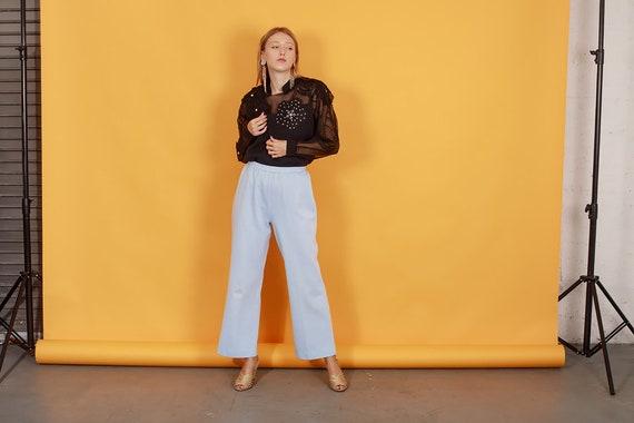 70s Pastel Blue Knit Trousers Vintage Light Textu… - image 4