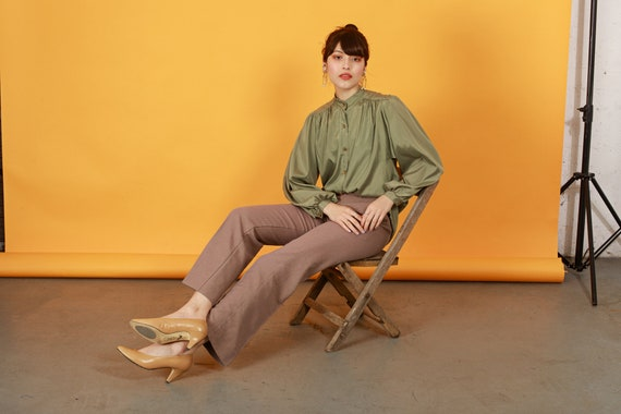 70s Khaki Flared Knit Pants Vintage Beige High Wa… - image 5