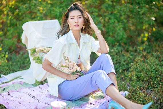 80s Purple Lilac High Waisted Pants Vintage Knit … - image 3