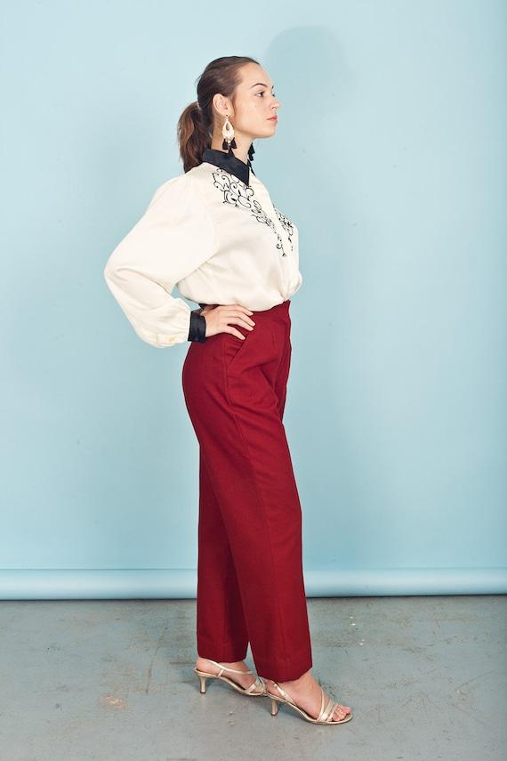 70s Wine Red Knit Pants Vintage Wide Leg Deep Red… - image 2