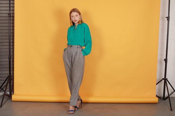 80s Grey Plaid Belted Trousers Vintage Black Slou… - image 9