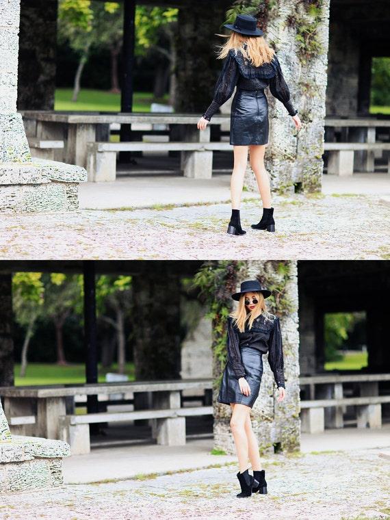 80s Leather Skirt Vintage Black High Waisted Fitt… - image 4