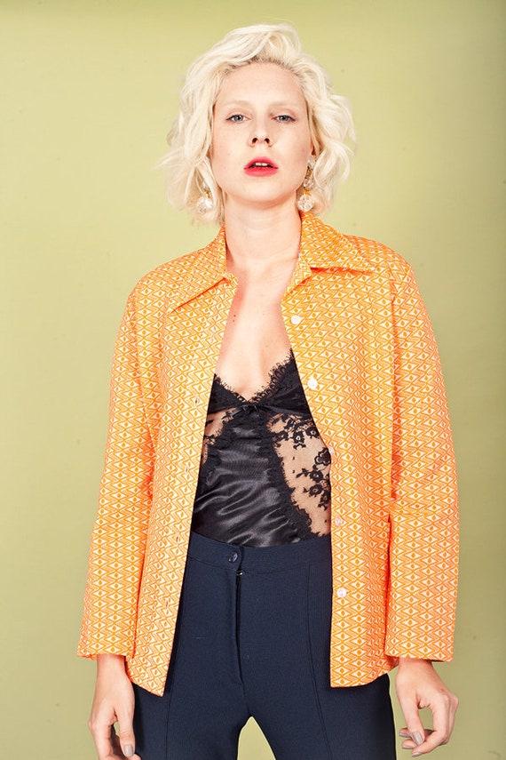 60s Orange Printed Knit Top Vintage Collar Knitte… - image 6
