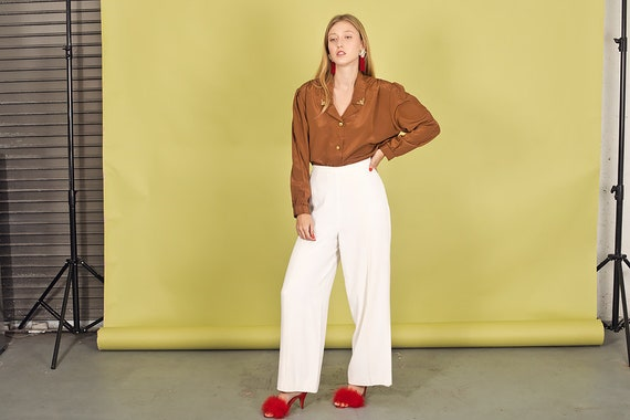 80s White Rayon Formal Pants Vintage Classic High