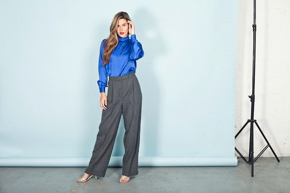 70s Gray Wide Legged Pants Vintage High Rise Knit… - image 2