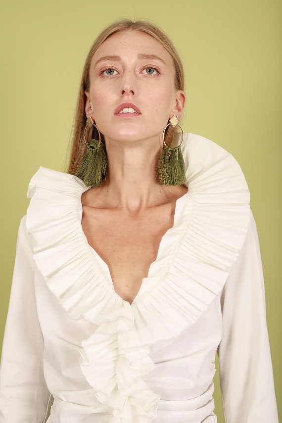 80s Off White Accordion Blouse Vintage Statement … - image 7