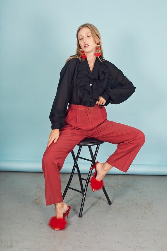 80s Rose Red Silk Textured Pants Vintage Linen Mi… - image 9