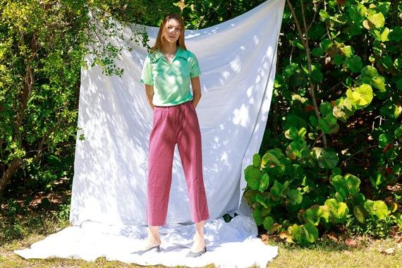 70s Dark Red White Printed Pants Vintage Knit Pat… - image 1