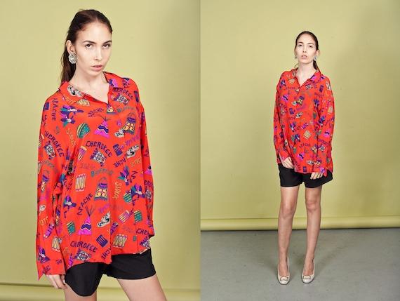 80s Red Silk Blouse Vintage Southwestern Silk Nati