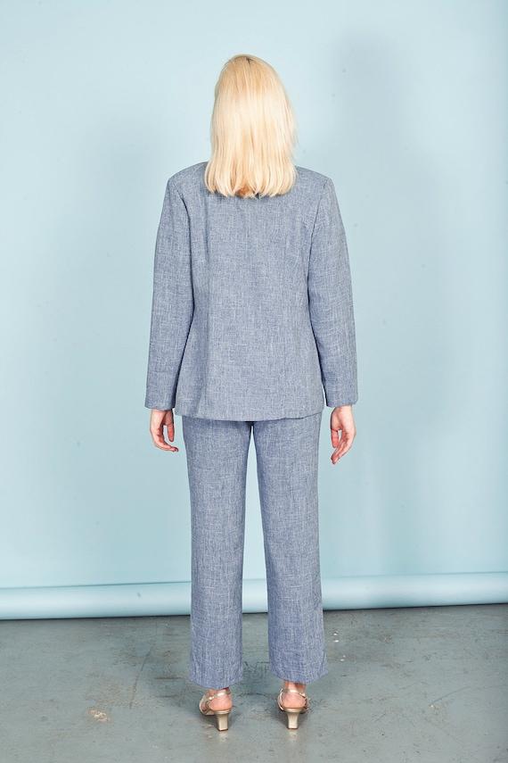 80s Blue Heathered Wash Pant Set Vintage Pastel B… - image 8