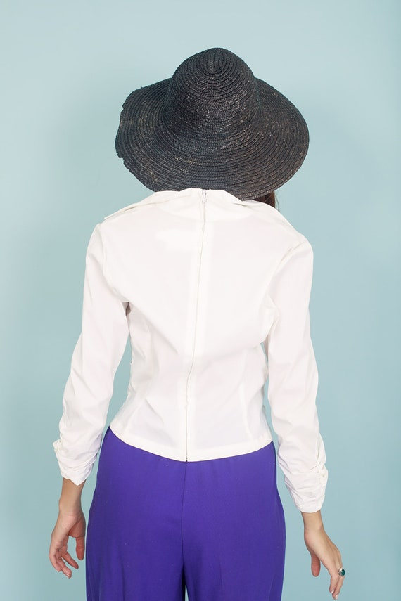 80s Off White Formal Collar Blouse Vintage Statem… - image 9