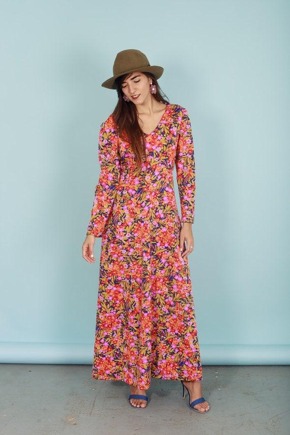 60s Botanical Dress Vintage Flower Print Long Sle… - image 4