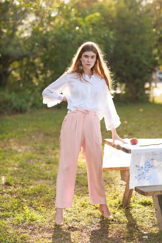 80s Pink Soft Rose Silk Trousers Vintage Pastel S… - image 2