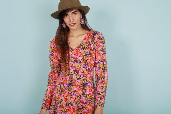 60s Botanical Dress Vintage Flower Print Long Sle… - image 7
