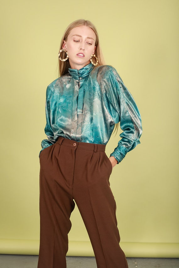80s Aquamarine Blue Abstract Print Blouse Vintage… - image 3