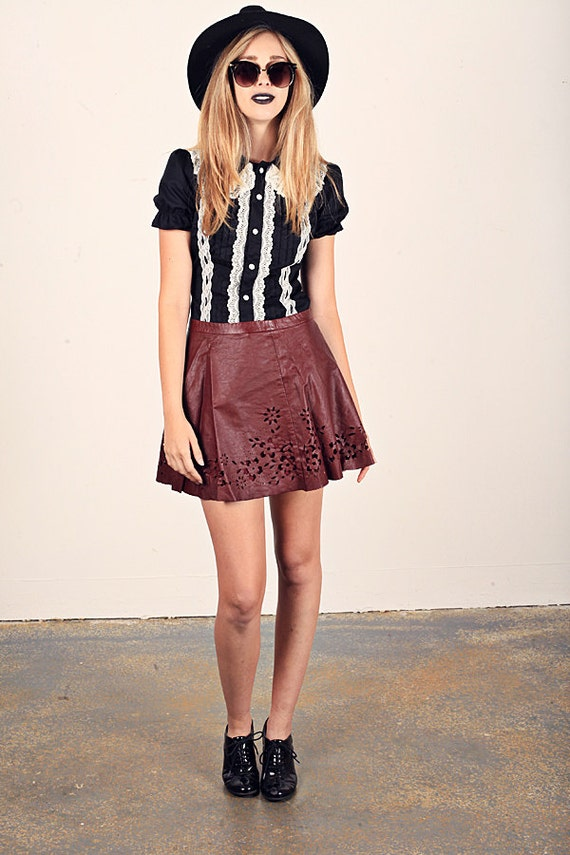 90s Wine Skirt Red Faux Leather Vintage Cutout Cir