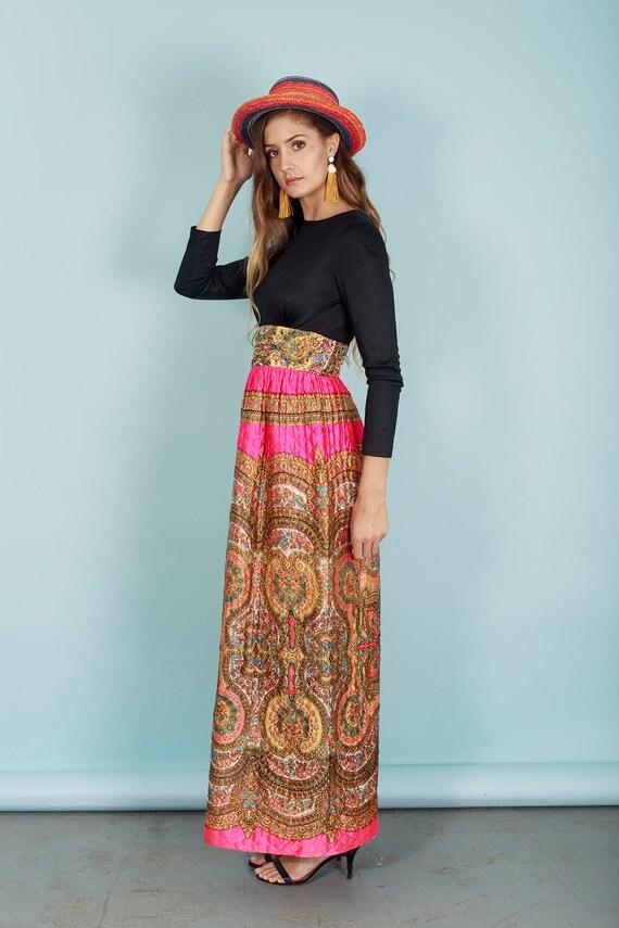 60s Quilt Dress Colorful Vintage Paisley Print Rh… - image 7
