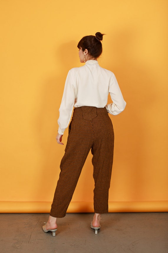 80s Brown Orange Plaid Pants Vintage Houndstooth … - image 6