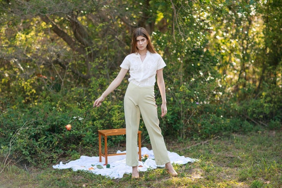 60s Pale Green Knit Trousers Vintage Mid Waist Te… - image 5