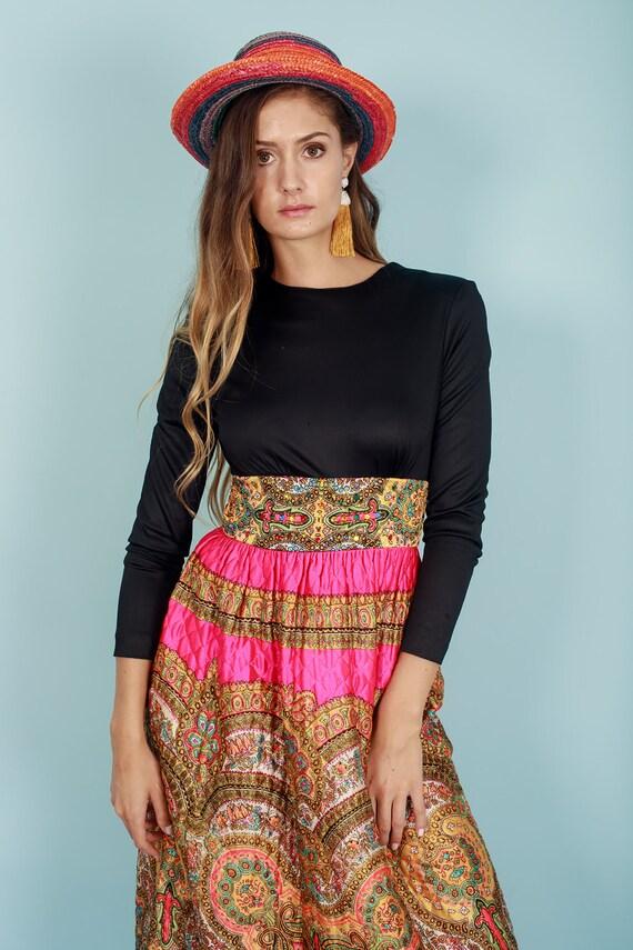 60s Quilt Dress Colorful Vintage Paisley Print Rh… - image 2