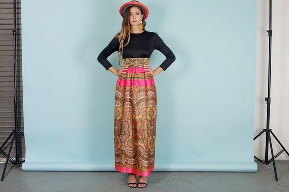 60s Quilt Dress Colorful Vintage Paisley Print Rh… - image 1