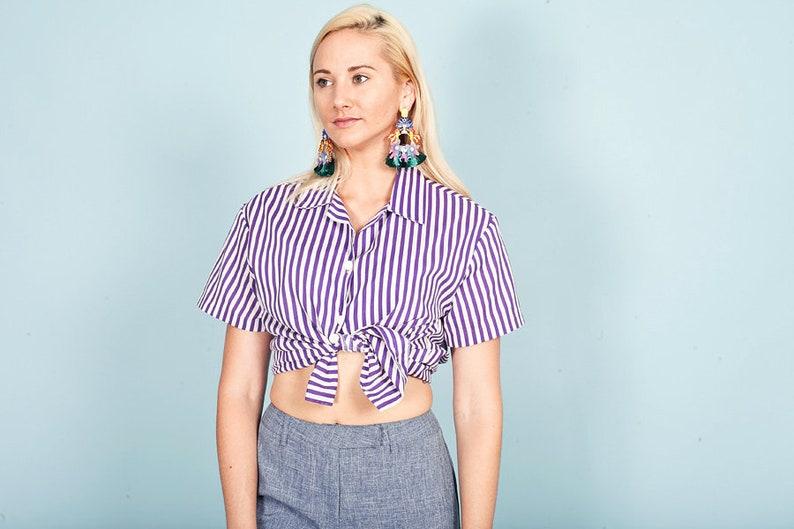 80s Purple Striped Summer Top Vintage Button Down Short Sleeve Blouse