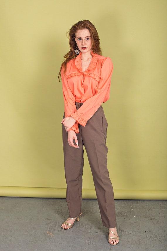 70s Peach Ruffle Collar Blouse Vintage Coral Cott… - image 2