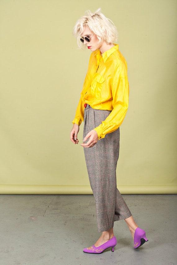 80s Plaid Black Tapered Pants Vintage Wool Petite… - image 6