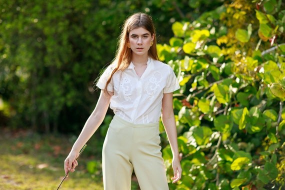 60s Pale Green Knit Trousers Vintage Mid Waist Te… - image 3
