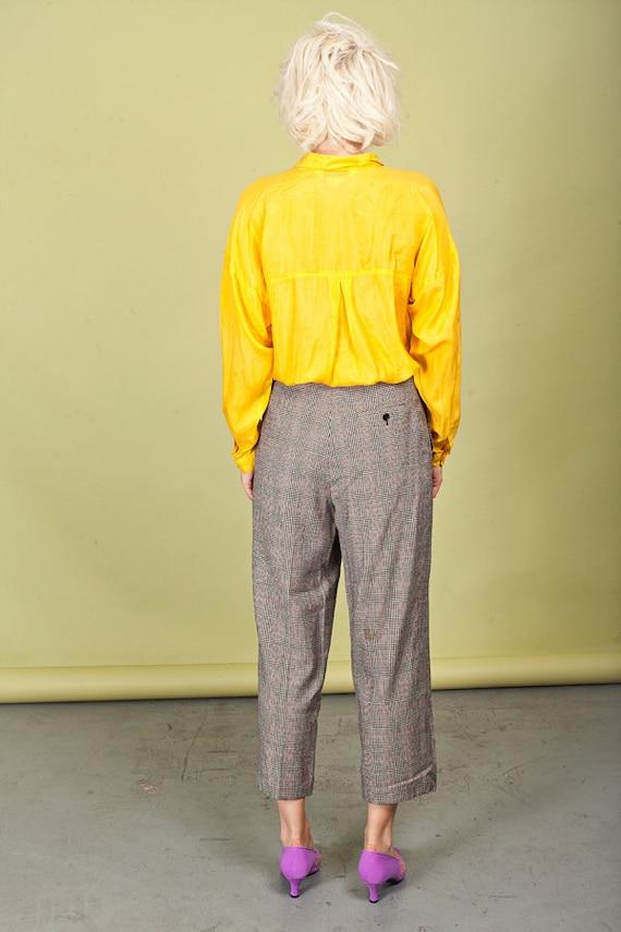 80s Plaid Black Tapered Pants Vintage Wool Petite… - image 5