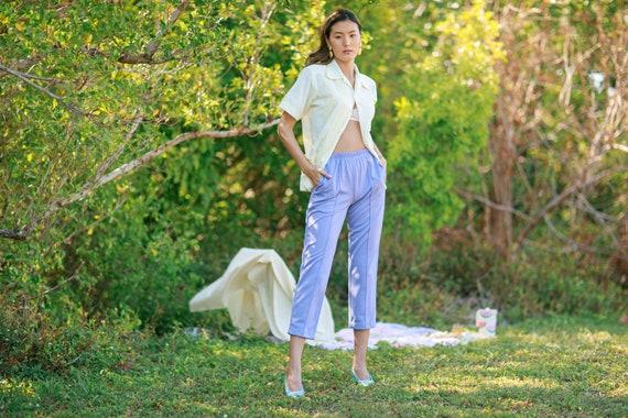 80s Purple Lilac High Waisted Pants Vintage Knit … - image 5