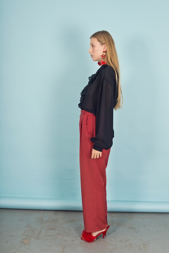 80s Rose Red Silk Textured Pants Vintage Linen Mi… - image 7