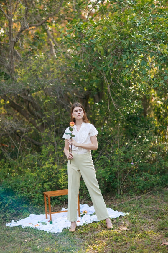60s Pale Green Knit Trousers Vintage Mid Waist Te… - image 8