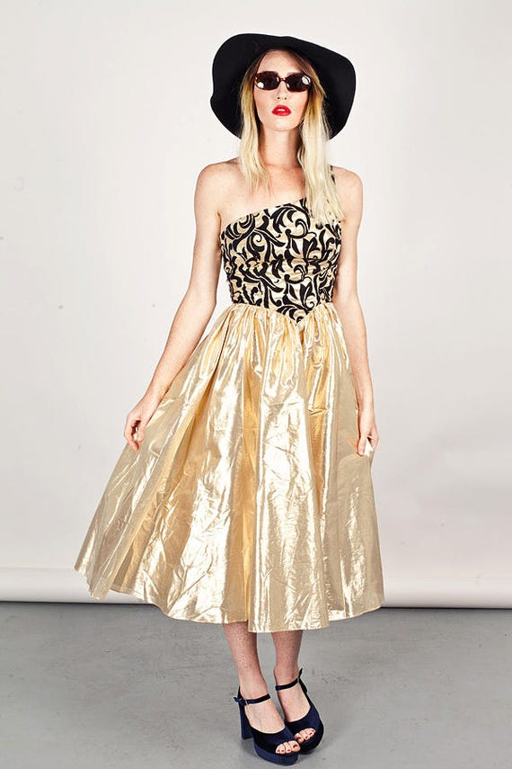 80s Gold Baroque Dress Vintage Tinsel Brocade Party Dress  c5aff6082b2