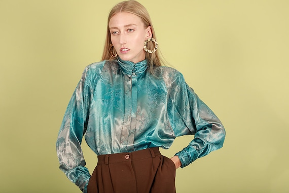 80s Aquamarine Blue Abstract Print Blouse Vintage… - image 5