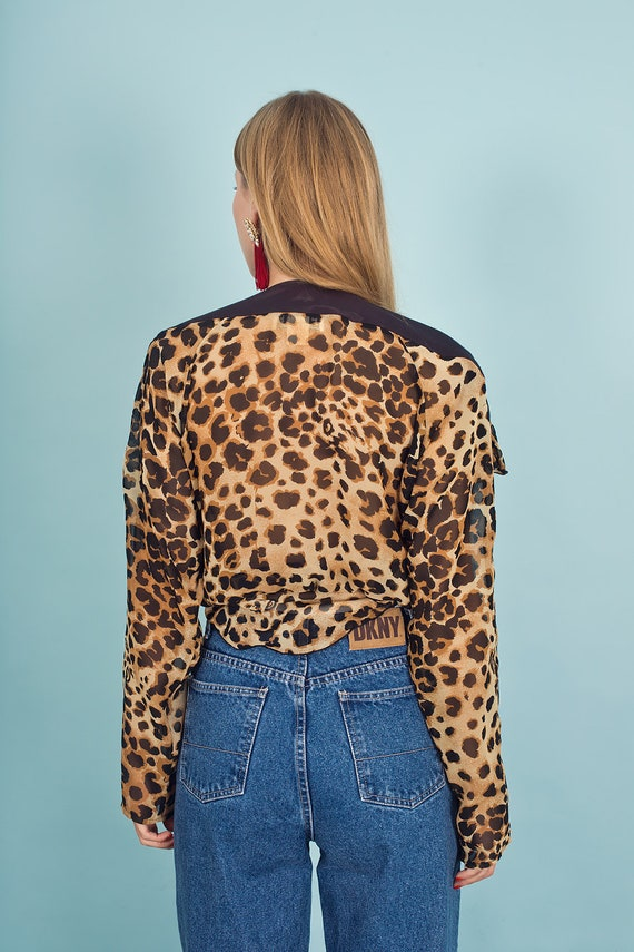 80s Leopard Print Black Statement Top Vintage Pep… - image 9