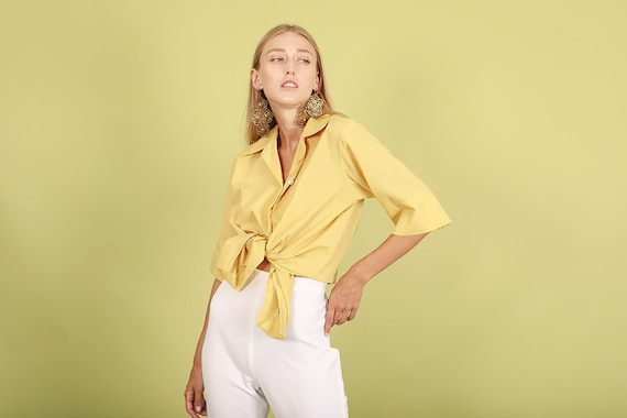 70s Mustard Yellow Square Top Vintage Button Down