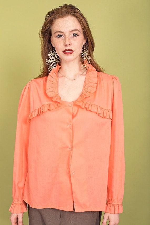 70s Peach Ruffle Collar Blouse Vintage Coral Cott… - image 9