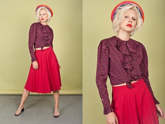 70s Dark Pink Pleat Skirt Vintage High Waisted Tex