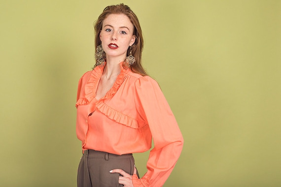 70s Peach Ruffle Collar Blouse Vintage Coral Cott… - image 4