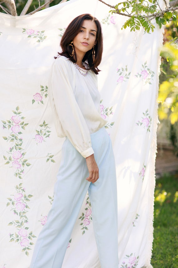 70s Light Blue Soft Knit Trousers Vintage Straigh… - image 6