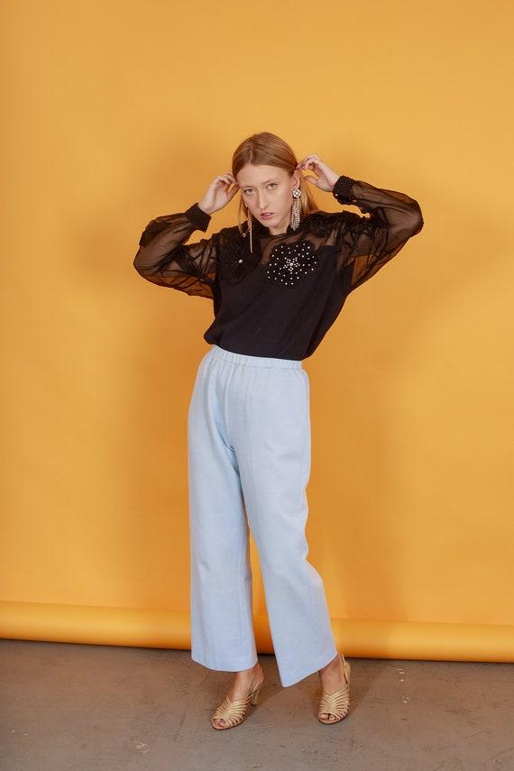 70s Pastel Blue Knit Trousers Vintage Light Textu… - image 3